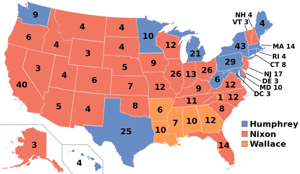 1968 presidential election map.