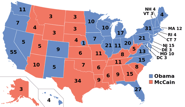2008 Presidential Election Map.