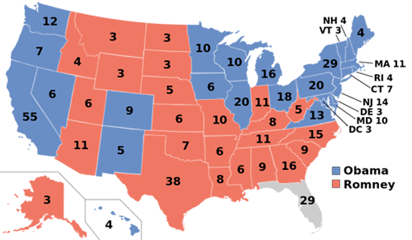 2012 Presidential Election Map