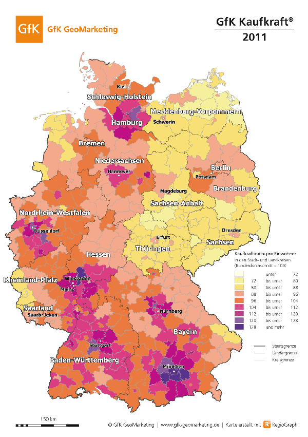 Purchasing power in Germany, 2011.