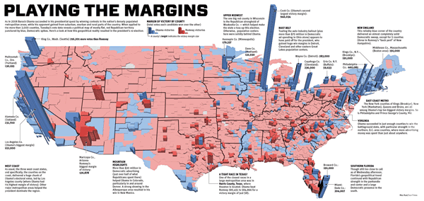 Election map showing margin of votes by county for the 2012 Presidential Election.