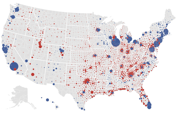 Size of lead post-election map for the 2012 Presidential Election from the NY Times.
