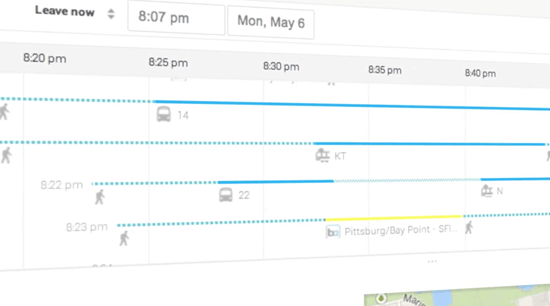 A timeline allows users to compare travel times for different routes.