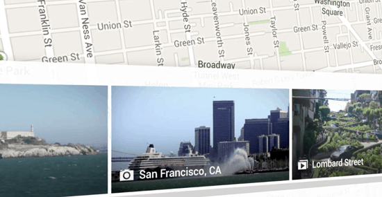 A carousel at the bottom of Google Maps allows users to browse imagery.