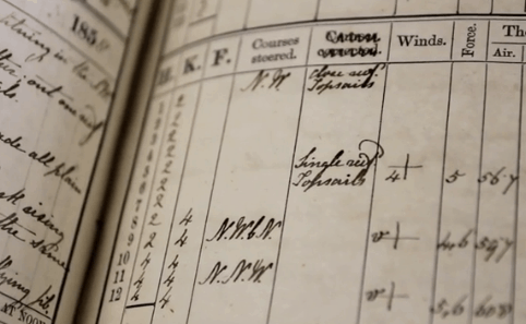 Weather measurements recorded in a ship log book.
