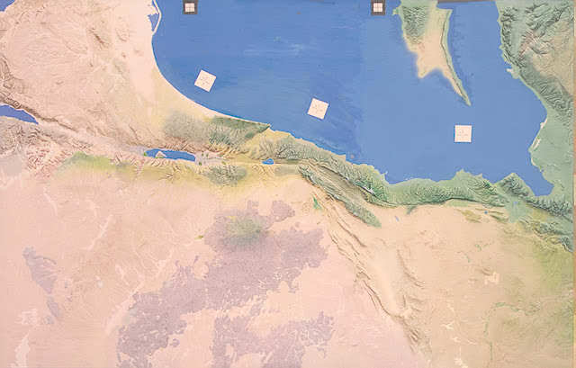 Palestine as portrayed by cartographer-artist Hal Shelton, illustrating his unique technique for depicting landforms. Starting with an offset blue-line lithographic image of a contour map etched on a zinc printing plate, the map image was then painted with acrylic paints using an oscillating-needle airbrush. Originally designed for use by airline passengers, Shelton's maps were widely adopted for aeronautical charts and educational purposes.(The H. M. Gousha Company Collection)