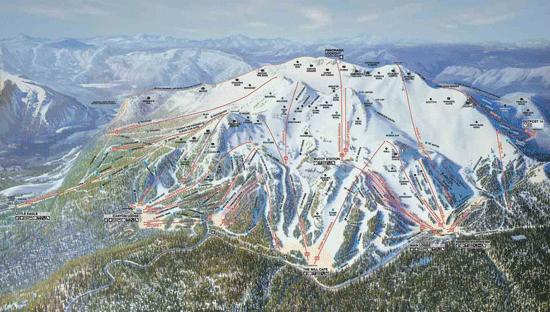 Ski map of Mammoth Mountain ski area by Hal Shelton.