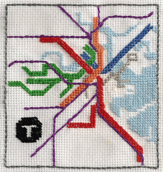 Needlepoint transit map.