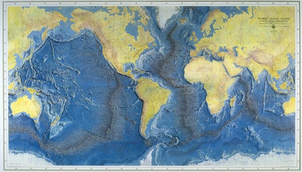 World Ocean Floor Panorama, 1977. The map was painted by Austrian painter Heinrich Berann.