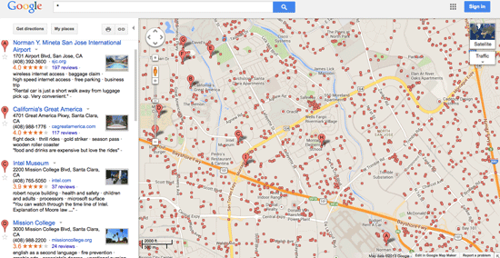 Typing * in the search box on maps.google.com reveals all point information on Google Maps.