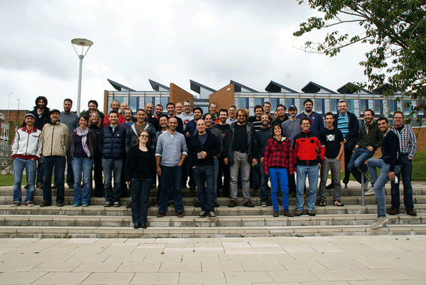 Attendees gather for a group photo at the 10th annual QGIS Developer meeting held in Brighton, UK in September, 2013.  Source: Anita Graser.
