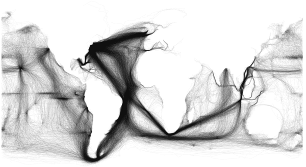 Shipping data from ICOADS US Maury collection. Visualization: Ben Schmidt.