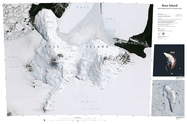 Satellite map of Ross Island using the Landsat Imagery Mosaic of Antarctica, including insets of nearby Beaufort Island and Franklin Island. From the Polar Geospatial Center.