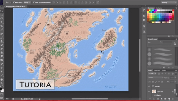 Example of a fantasy map created using PhotoShop.