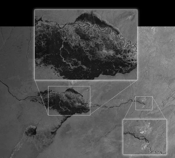 Acquired on 13 April 2014 at 03:50 GMT (05:50 CEST) by Sentinel-1A, this image shows the extent of flooding in the Caprivi plain from the Zambezi River in Namibia. Sentinel-1A acquired this image in its main 'Interferometric Wide Swath' mode with a swath width of 250 km and in dual polarisation. Victoria Falls is also featured in the image, further east along the Zambezi River. The image was downloaded two hours after acquisition and the resulting products were available in less than an hour. Such images can be taken in adverse weather conditions and during the dark, demonstrating the value of Sentinel-1's radar vision. Source: ESA.