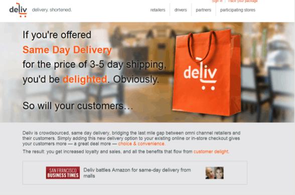 The Deliv website