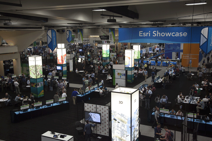 The ESRI Showcase features vendors, exhibits, demonstrations and ESRI employees helping their users.