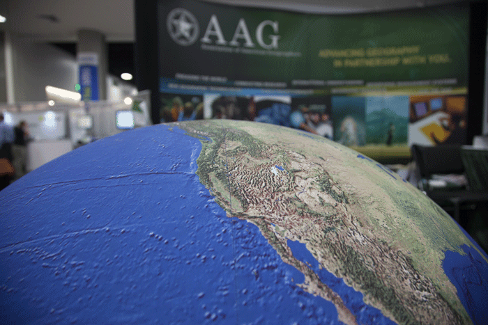 The AAG booth at the ESRI Showcase featured a very large rubber globe.