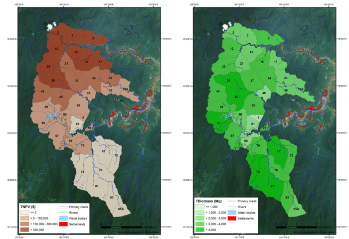 Information on land cover, market values and forest management was used as input to a managed timber production model and applied to the Huong Son forest concession. The left image displays the total net present value (TNPV) of the forecasted timber extraction until 2045 (based on average values); the darker the area, the greater the value. The image on the right image displays the total biomass foreseen to be extracted by the forest operations within each parcel; the darker green the more biomass. Numbers correspond to the parcels listed in the forest management plan of the Huong Son Company. Source: ESA/GeoVille