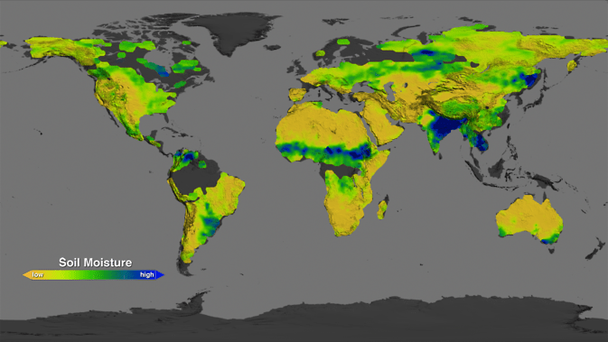Map showing what the soil moisture conditions around the planet were like in August 2013: dry areas are represented in the brown scale, while wetter areas are in blue and green. Image Credit: NASA Goddard's Science Visualization Studio/T. Schindler