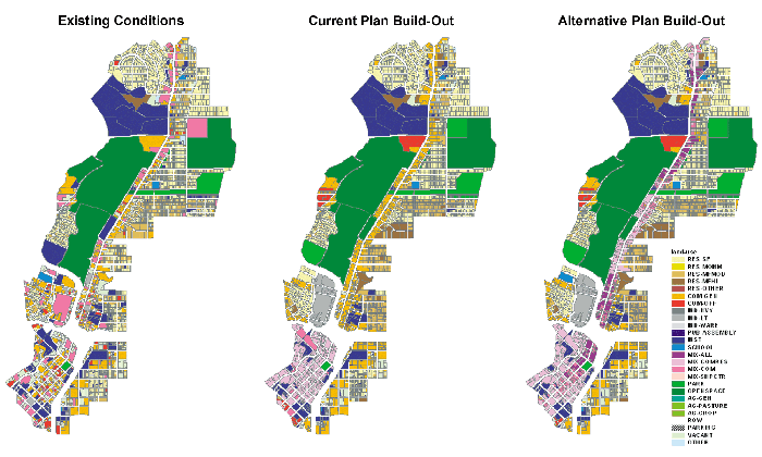 GIS allows urban planners to visualize alternative scenarios to compare outcomes.  In this example San Antonio's Broadway Corridor was modeled three ways in INDEX: existing conditions, current plan build-out, and stakeholders' alternative plan build-out.