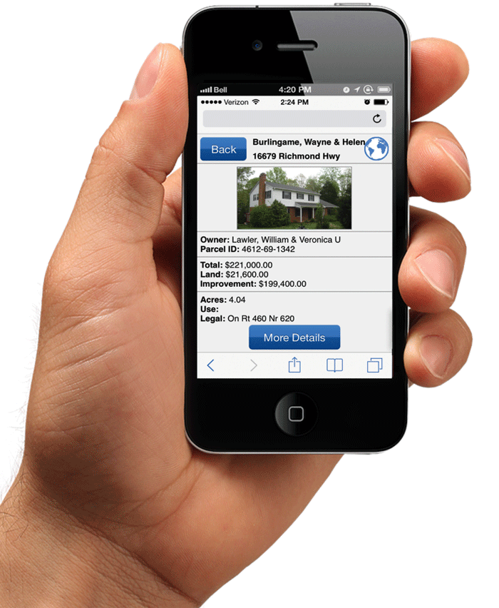 Create a responsive property mapping application that reads easily for users that may access it from a smartphone.