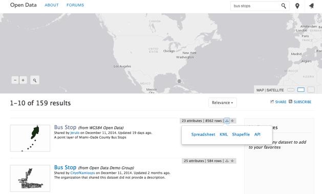 Searching for open GIS data via Esri's ArcGIS Open Data.