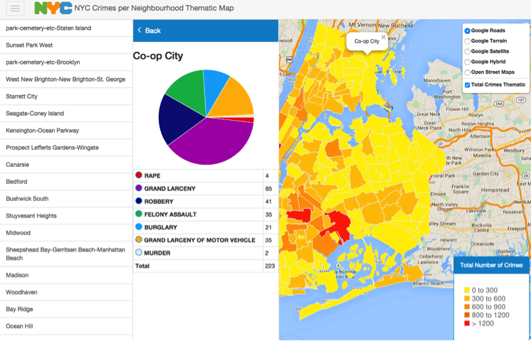 NYC Crimes Map you can see it online here