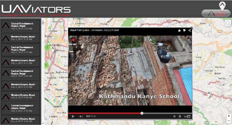 An aerial image of Nepal earthquake zone, from volunteered drone user (UAViators)