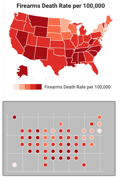 Firearm death rate per thousand mapped as a choropleth and a circle tile-grid map. Map: Slemma blog.