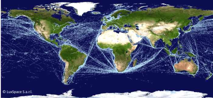 Map of global ship traffic based on AIS signals detected from orbit. Source: LuxSpace, 2016.