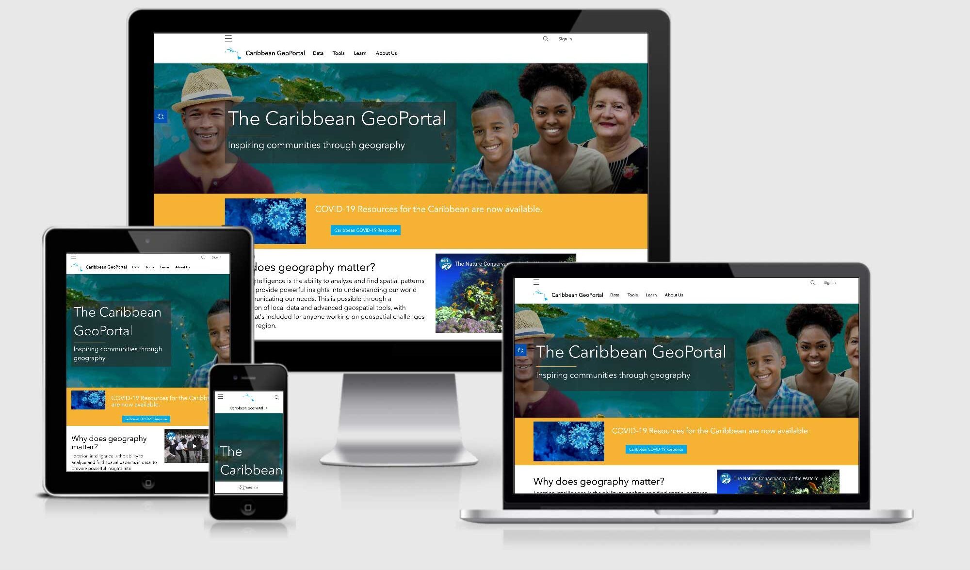Collection of responsive displays of The Caribbean GeoPortal