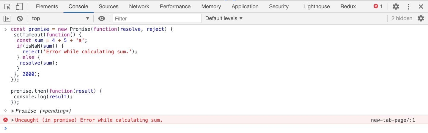 Error without catch