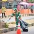 Funke Akindele seen cleaning the streets