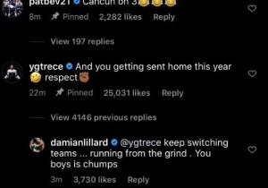 Dame In Tesponse to PG On Insta