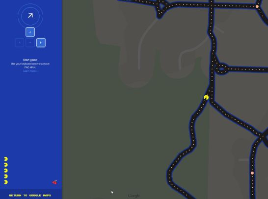Pac Man on Google Maps!