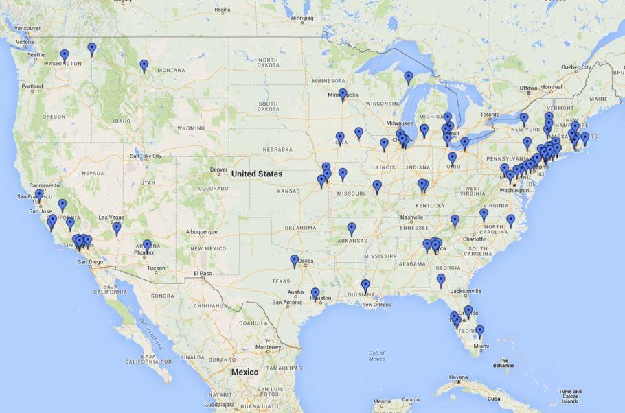 map of powerball winners