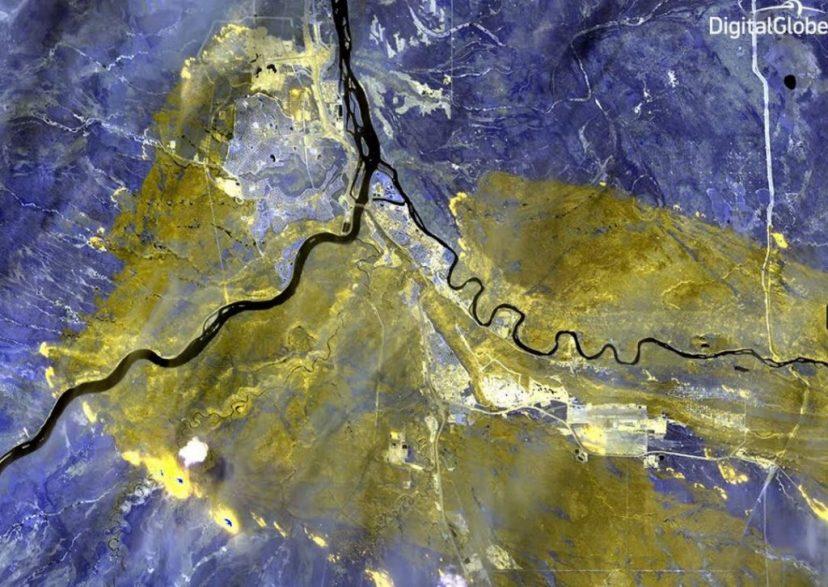 DigitalGlobe's WorldView-3 satellite of the Wildfire in Alberta Canada