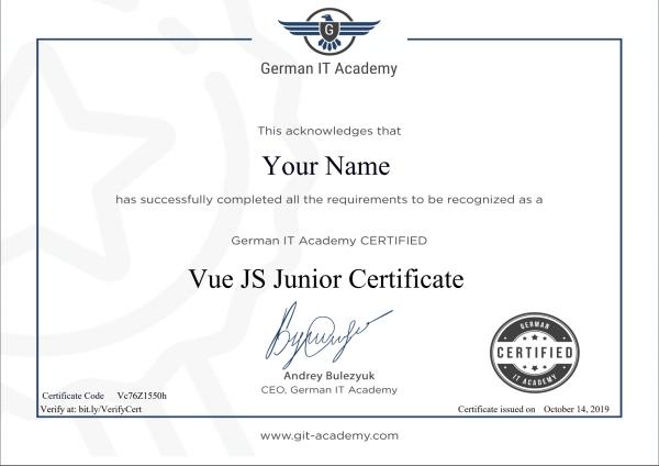 VueJS Certificate Junior German IT Academy
