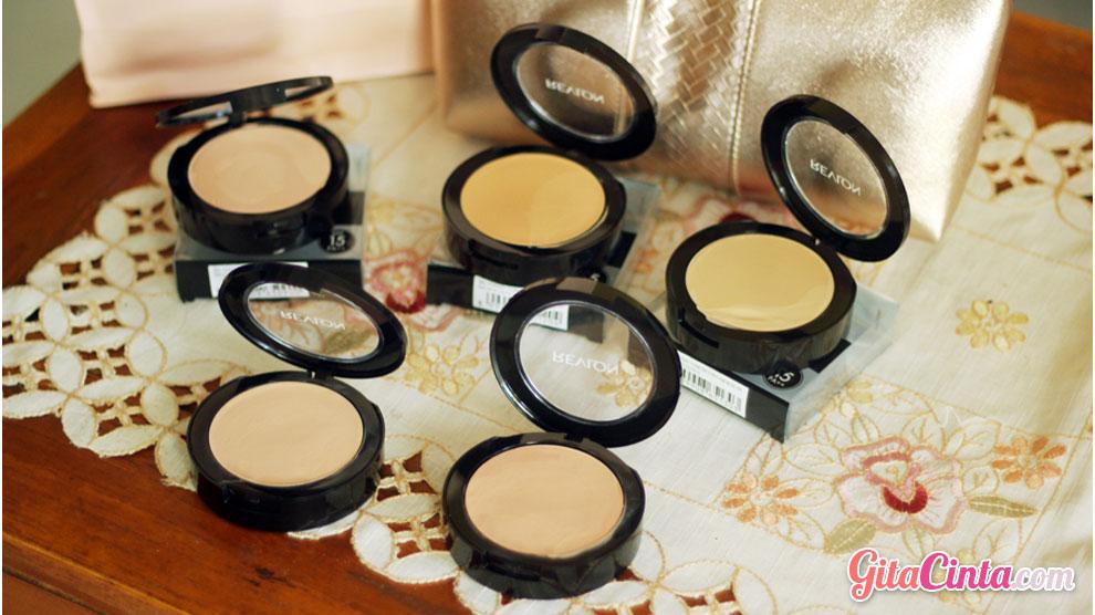 Revlon, powdery, foundation, spf15, pa++, uva, uvb, compact, multifungsi, ivory, fair, beige, ocher, shade, warna, kulit, natural, finish.