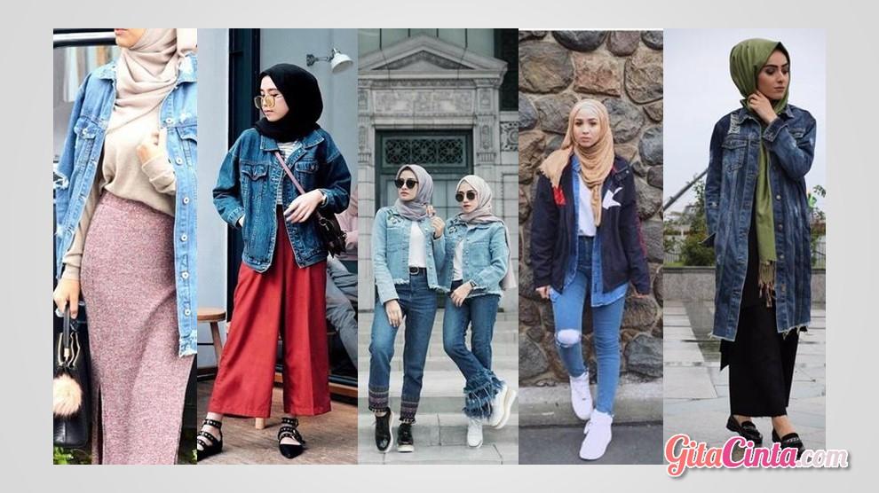 Jaket jeans wanita hijab