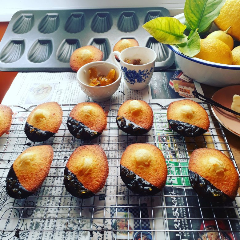 Madeleines with chocolate ganache and candied yuzu peel