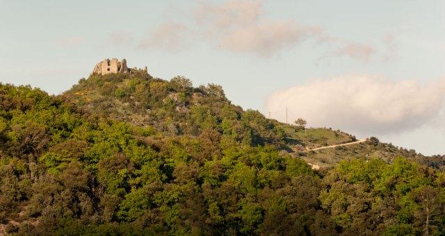 """Photo du château Pierre Gourde, que l'on aperçoit depuis la porte du gîte """"bondjou""""."""