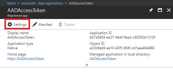 Registered app - Settings