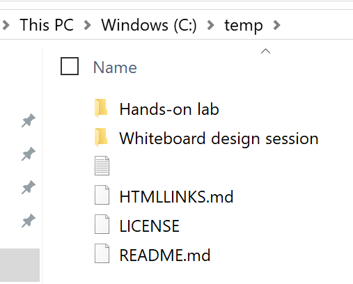 A set of extracted folders and files are visible in File Explorer: .vs, AzureTemplate, Database, Scripts, WebApp, README.md.