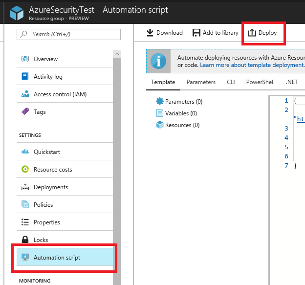Automation script is highlighted under Settings on the left side of the Azure portal, and Deploy is highlighted on the top-right side.
