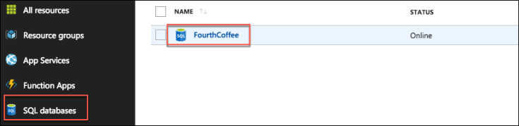 In the Azure portal left-hand navigation menu, SQL Database is highlighted, and the FourthCoffee SQL Database is highlighted and selected on the right.