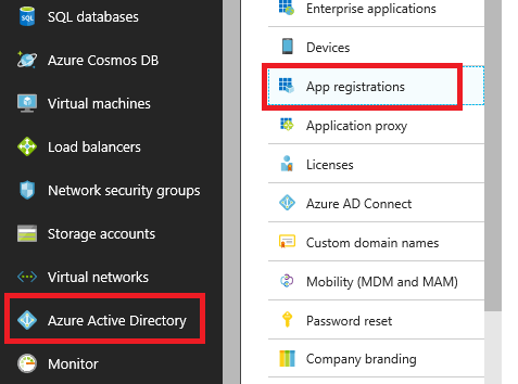 In the Azure Portal, Azure Active Directory and App registrations are both selected.