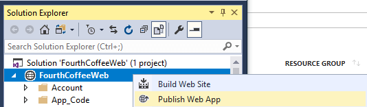 In Solution Explorer, FourthCoffeeWeb is selected, and from its right-click Menu, Publish Web App is selected.