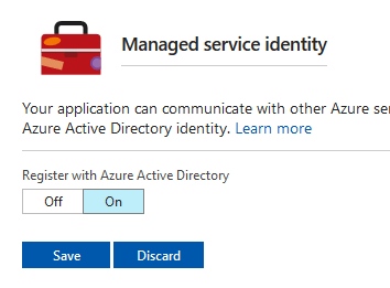 In the Managed service identity pop-up, Register with Azure Active Directory is set to On.